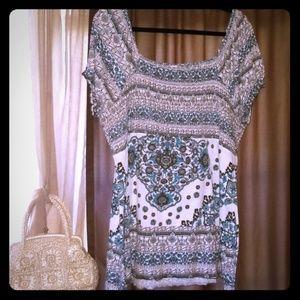 On or off shoulder boho stretch shirt blouse 26/28